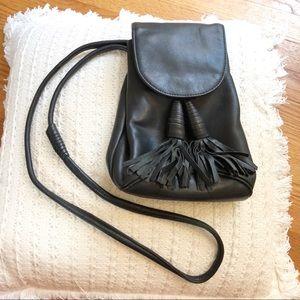 Vintage Black Leather Crossbody Bag with Tassels